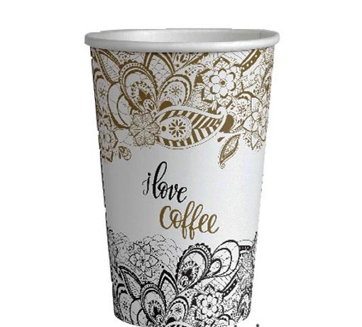 ΠΟΤΗΡΙ ΧΑΡΤΙΝΟ I LOVE COFFEE (GOLD) (ΣΤΕΝΟ) 12οz - (50τεμ.)