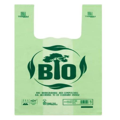 """Τσάντα T-Shirt 30x50cm, """"No More Plastic"""", MATER-BI®"""